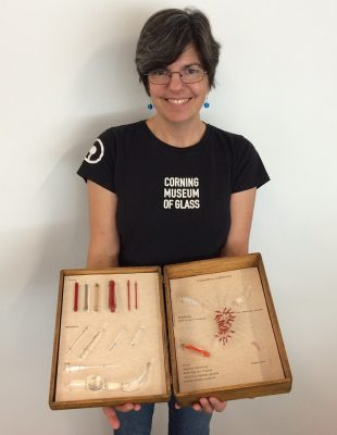Flameworker Jen Kuhn with her Flabellina trilineata box.