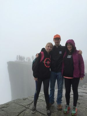 Braving the rain at Pulpit Rock in Norway