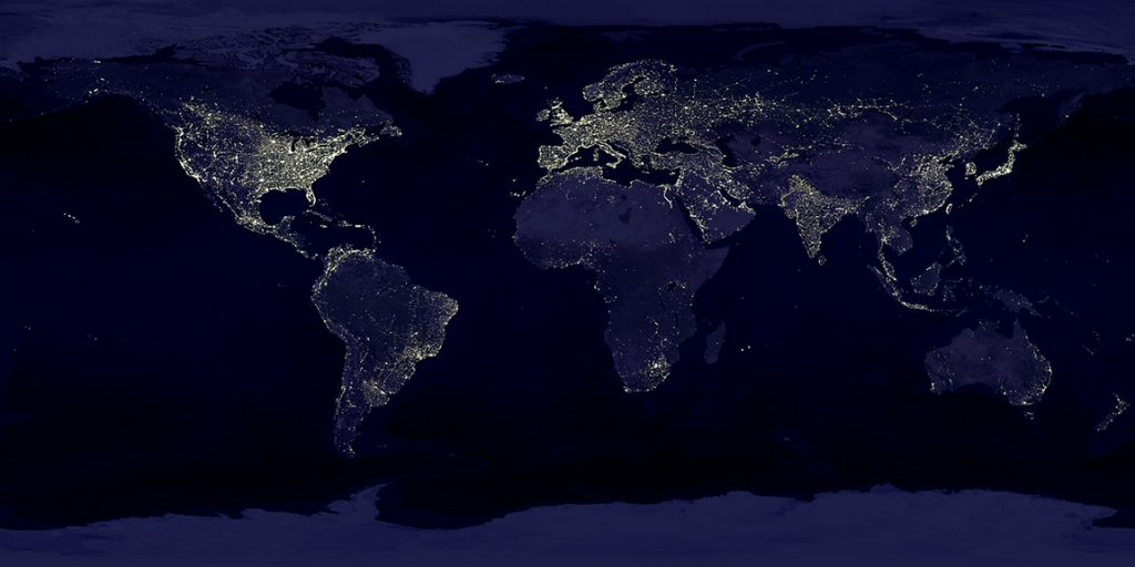 Satellite image of lights around the world.