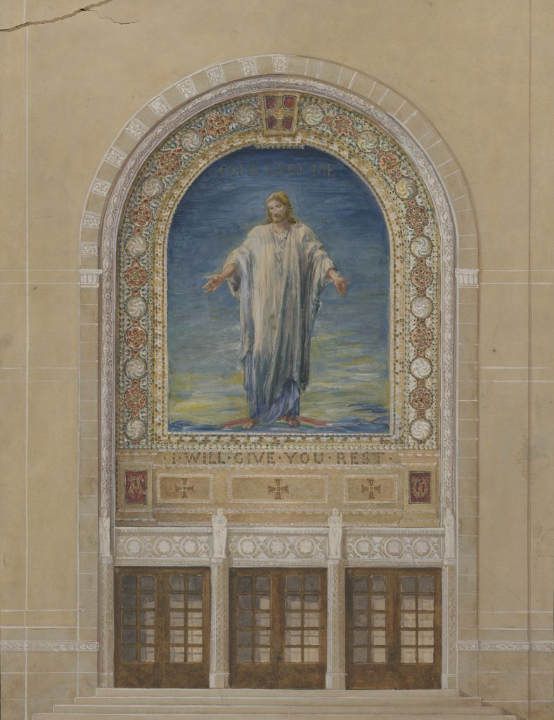 Watercolor design for glass mosaic. Jesus Christ, robed in white and standing on a rainbow, surrounded by decorative borders.