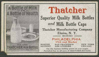 Advertisement for a Thatcher milk bottle