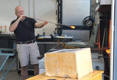 Bill Gudenrath blowing glass.