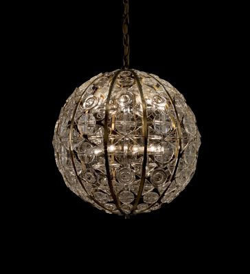 """Crystal Sphere"" Chandelier (2012.3.25): Made by the Orrefors company between 1963-1967, this object was difficult to clean in part because of its large size (it's maximum diameter is 61 cm or just over 2 feet) and its shape."