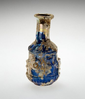 Bottle (55.1.74) :Archaeological objects, like this Roman bottle, often have very fragile surfaces because of weathering