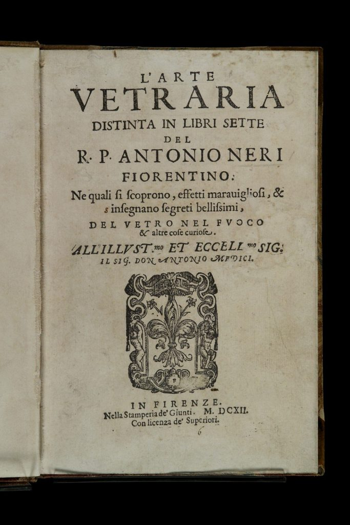 The title page of L'Arte Vetraria.