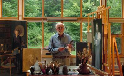 The artist, Thomas Buechner, in his studio.