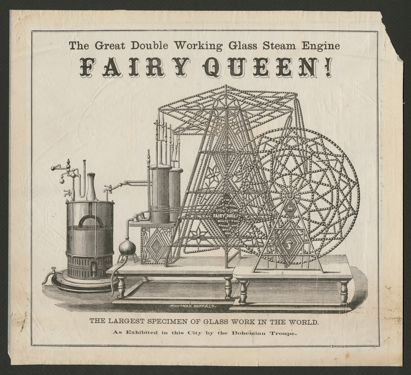 Advertisement for glass steam engine