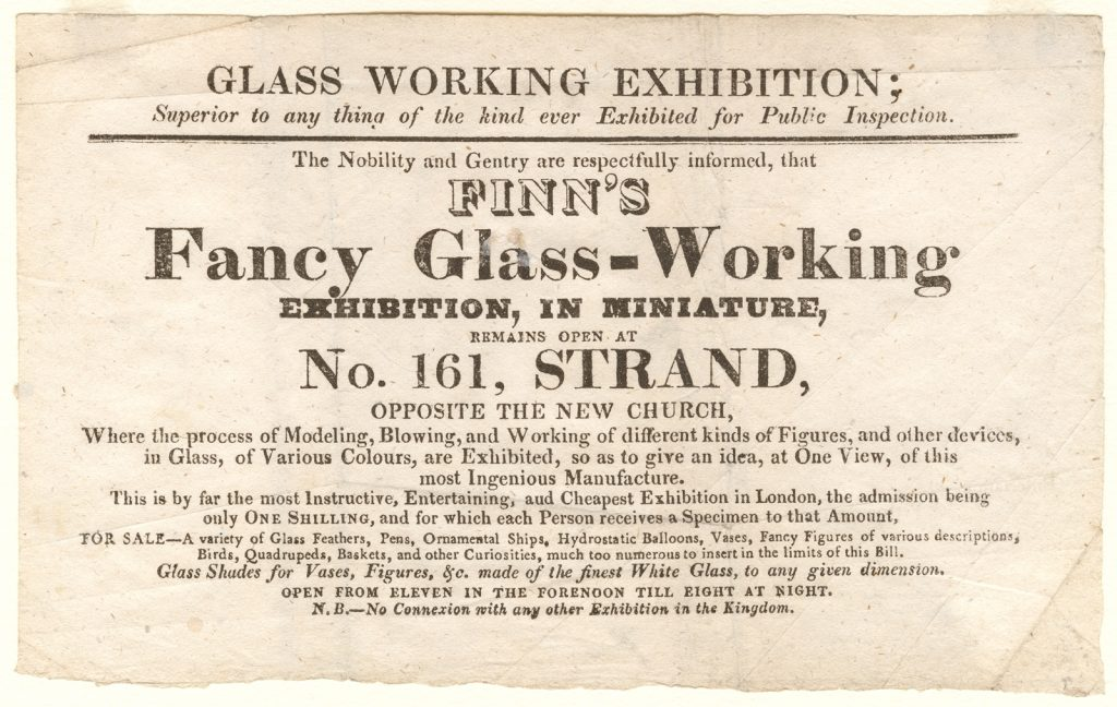 Advertisement for London exhibition