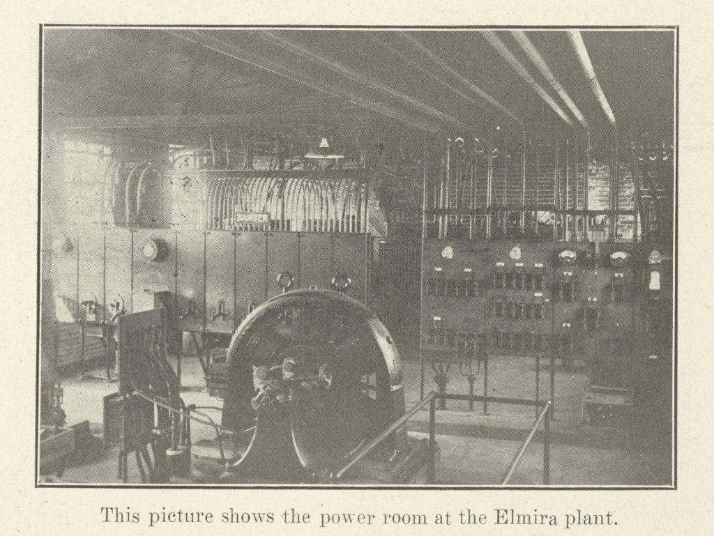 Photograph of the Elmira, NY, plant's power room.