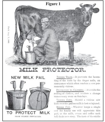 Advertisement with man milking cow and new milk protector pails