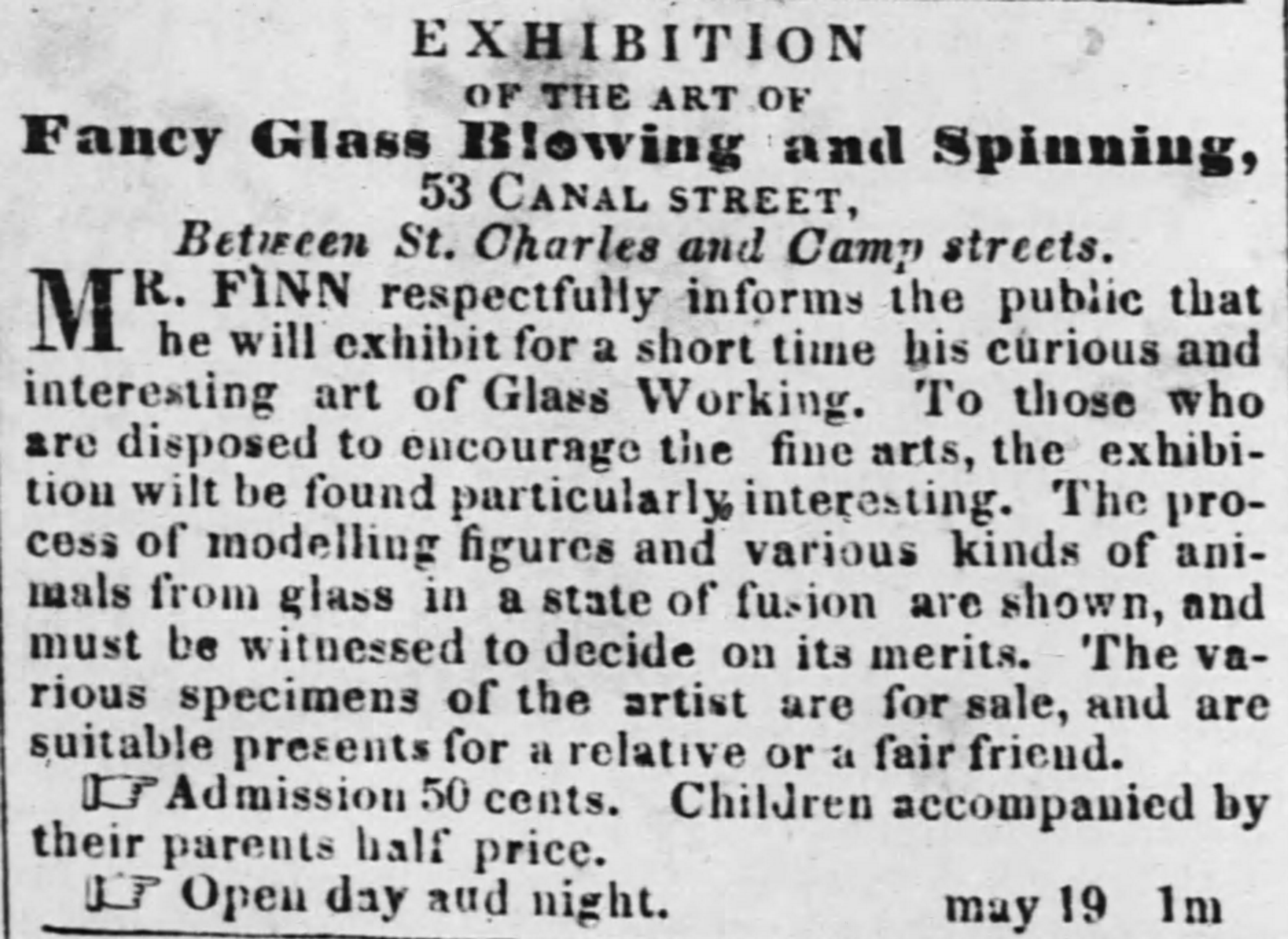 Advertisement for New Orleans exhibition