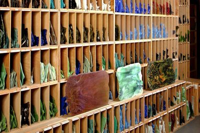 Racks of sheet glass used by Tiffany Studios.