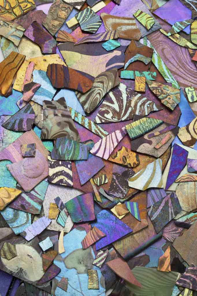 Variety of iridescent glass used for mosaics