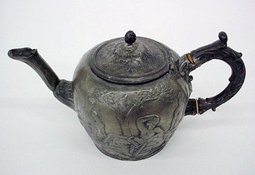 Teapot with Portland Vase Scene, England, about 1870-1880