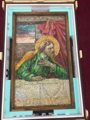 Even as it's being uncrated, the St. Andrew panel looks stunning.