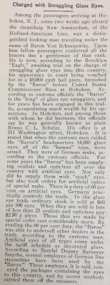 Article about the arrest of Baron Von Schoenewitz in the November 18, 1911 issue of the National Glass Budget
