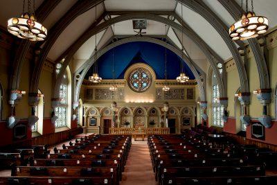 nterior of First Presbyterian Church, Bath, New York, 1895–1897. Tiffany Glass and Decorating Company.