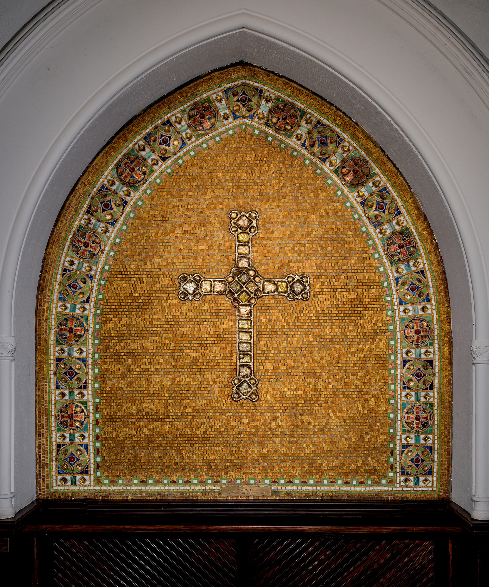 "Reredos with cross, after 1910. Tiffany Studios. Glass mosaic with glass ""jewels."" Christ Episcopal Church, Corning, New York."