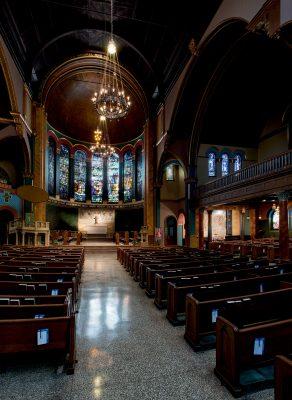 Interior of St. Michael's Episcopal Church, New York, New York, 1895.
