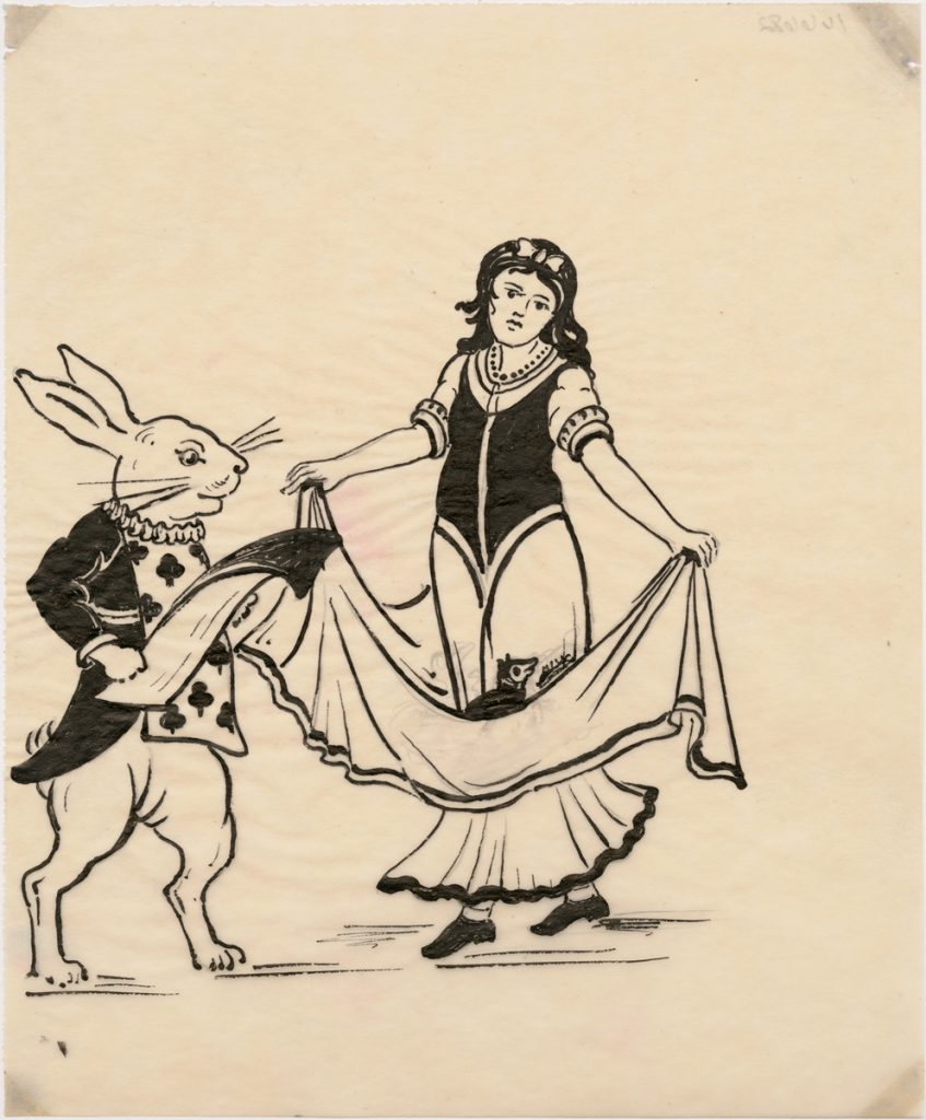After treatment photograph of White Rabbit and Alice drawing