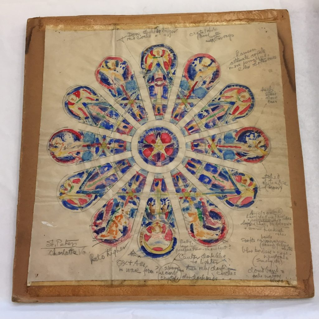 'Rose Window', a color blot study for St. Peter's, possibly in Charlotte, NC, one of the many designs in Katharine's collection.