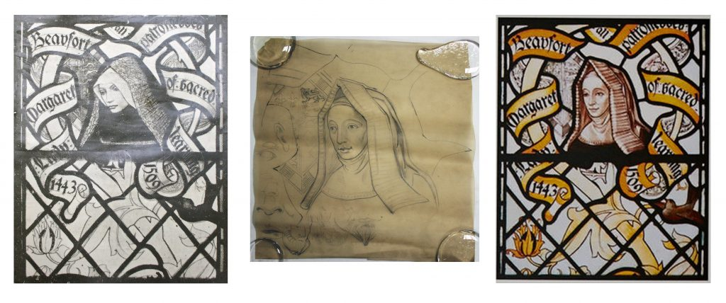 Compared stained glass designs for Margaret Beaufort.