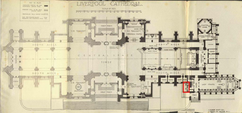 Floor plan of the Liverpool Cathedral