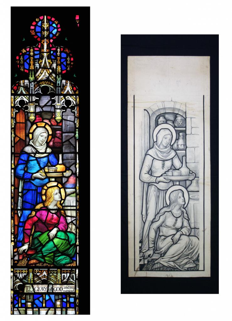 Left to Right: The left side of the window at Trinity Church and the cartoon we treated this summer.