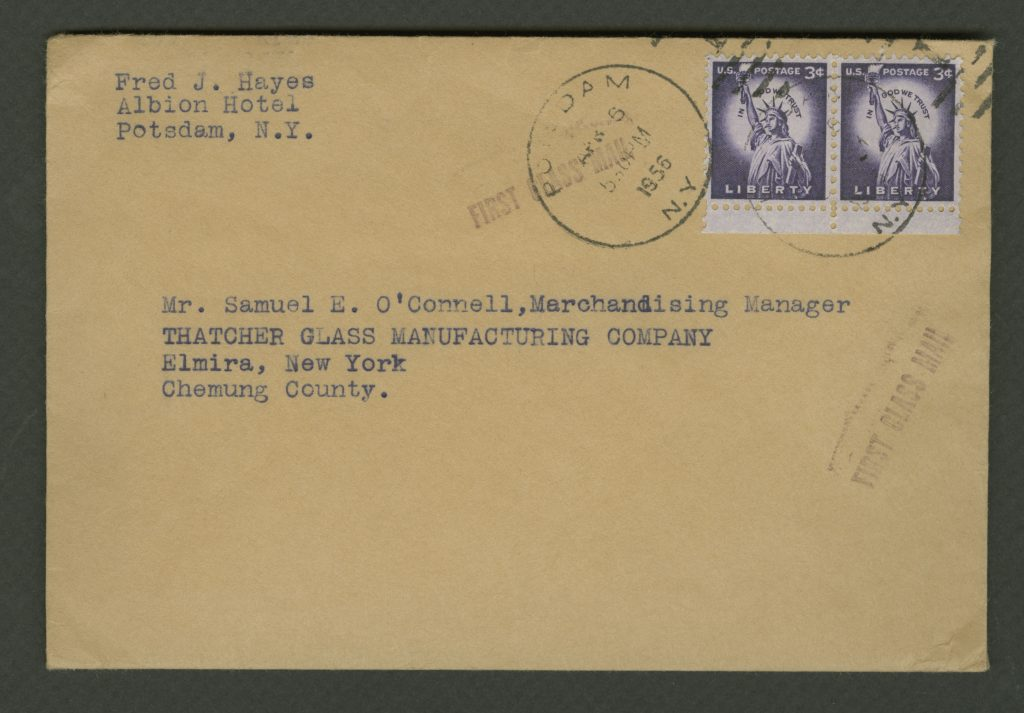 Envelope that Fred J. Hayes sent to Samuel E. O'Connell, postmarked April 5, 1956.
