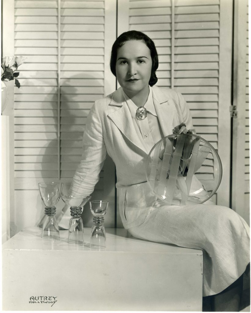 Dorothy and some of her glassware.