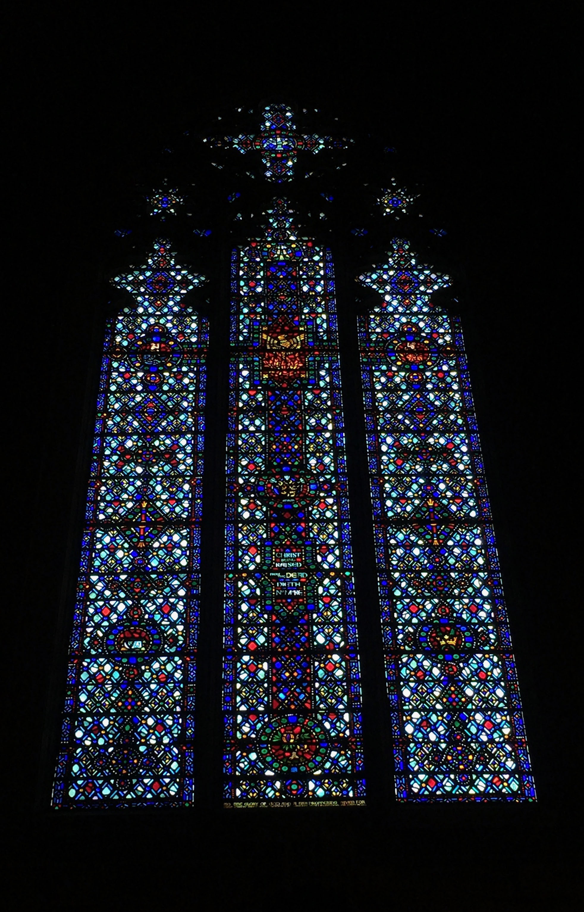 A few of the windows from the Church of the Heavenly Rest. Here you can see that the windows become lighter as they progress around the nave.