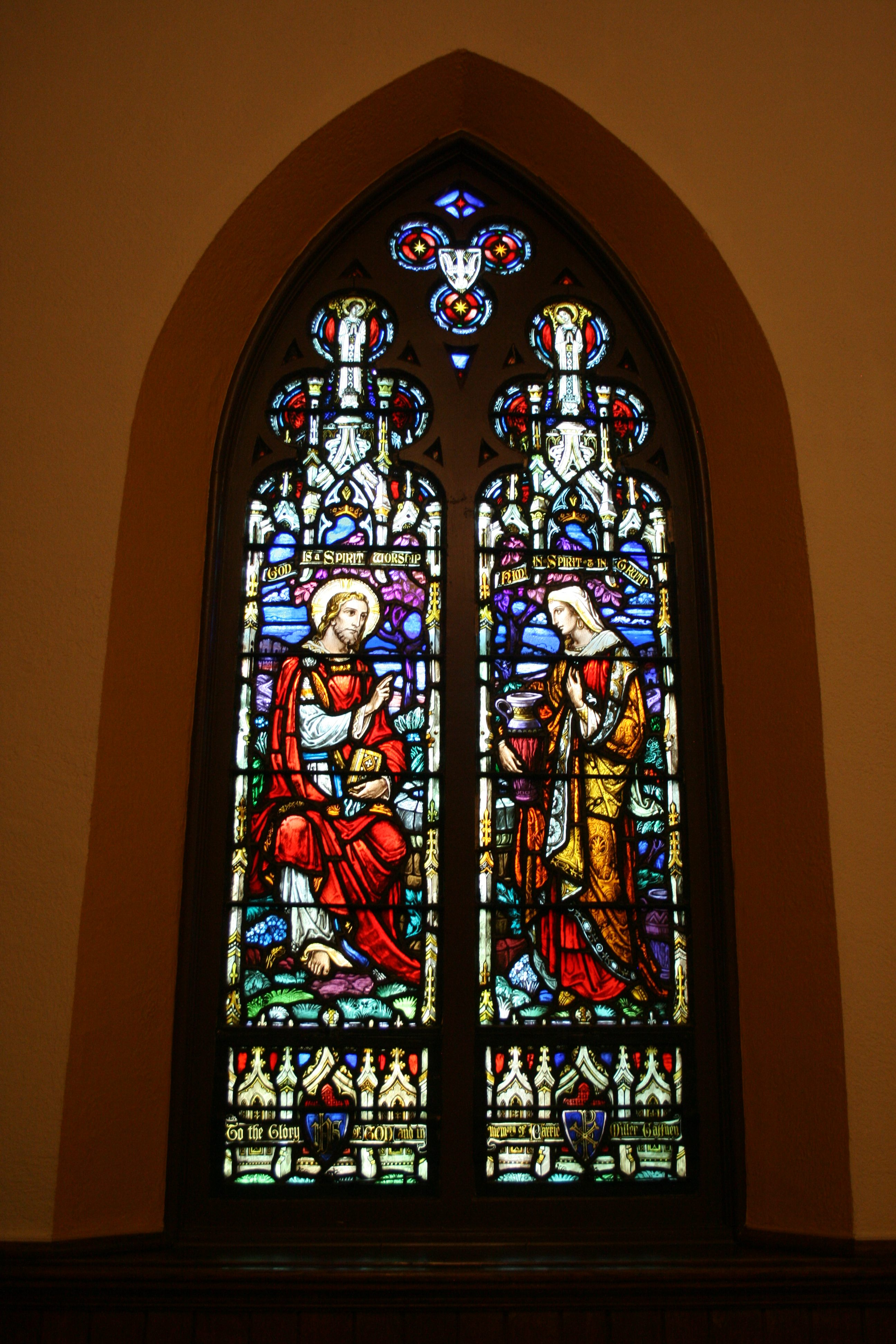 The window directly to the left of the Whitefriars window. This window, and many others in the church, were designed by Nicola D'Ascenzo.