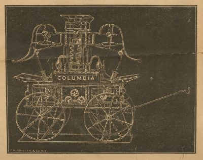 The Columbia, a hand fire engine, could reportedly shoot streams of water 15 feet into the distance.