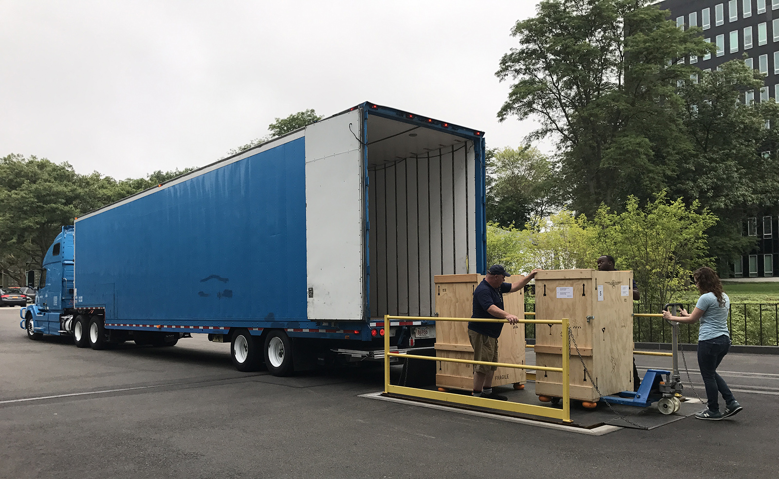 Crates being loaded on the truck headed to Norfolk.