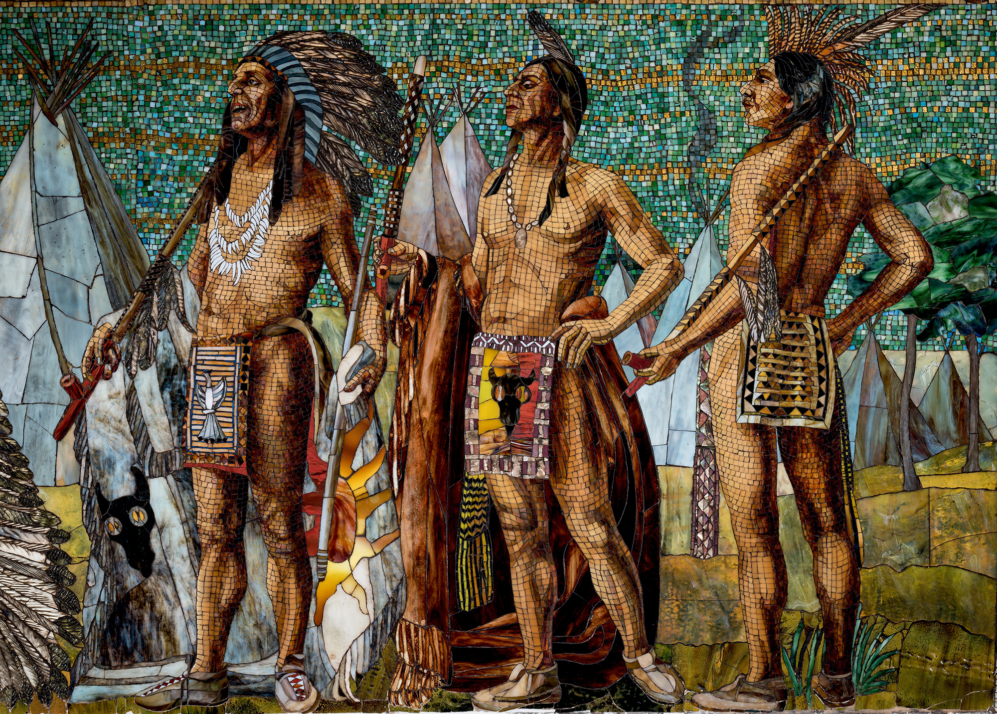 Detail of frieze, Jacques Marquette's Expedition: panel depicting Marquette and Joliet meeting with members of the Illinois tribe, 1895