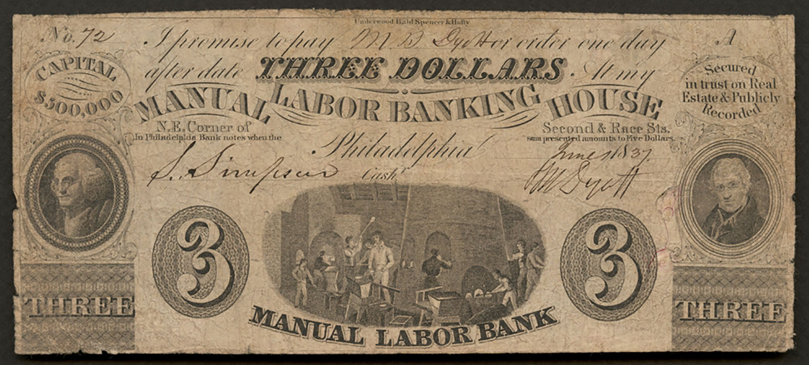 Three dollar promissory note signed by T.W. Dyott and issued to his brother, Michael B. Dyott, 1837. CMGL 165122.