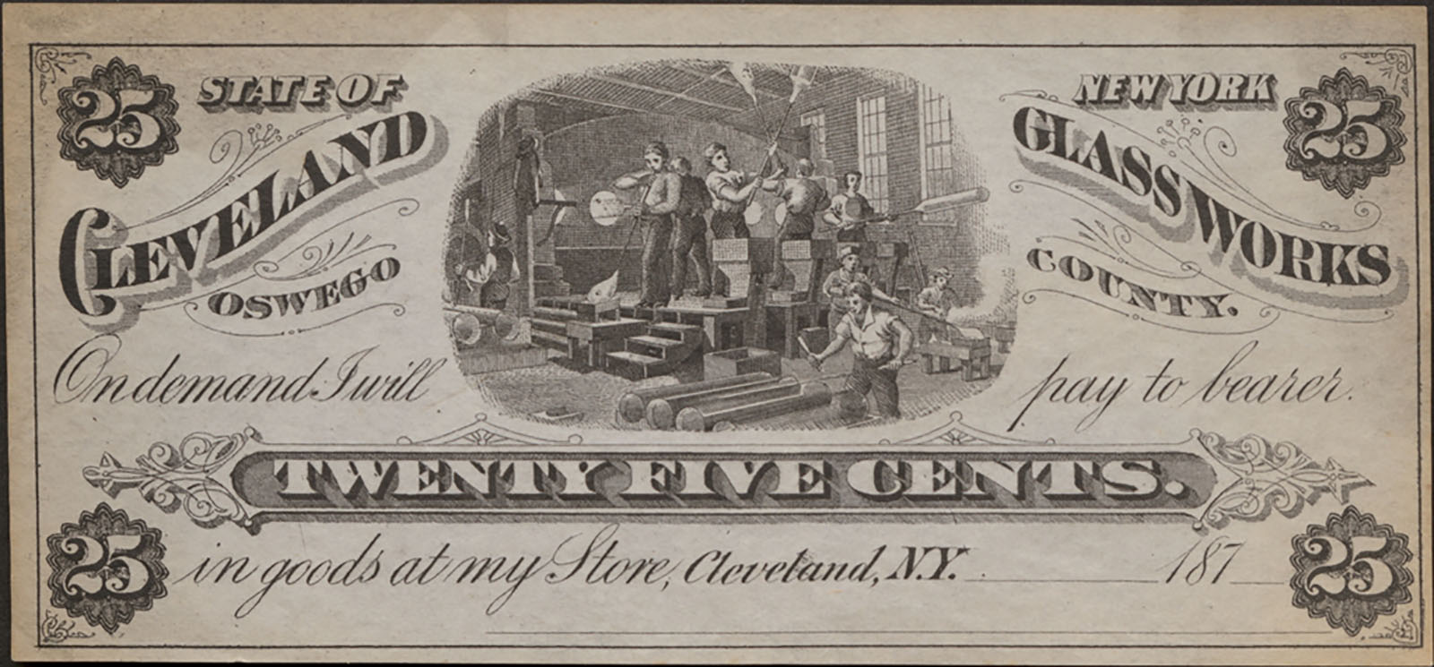 Cleveland Glass Works twenty-five cent scrip, 1870-1879. CMGL 167608