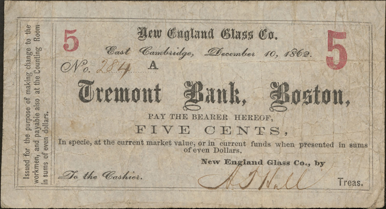 New England Glass Company five cent scrip, 1862. CMGL 167865