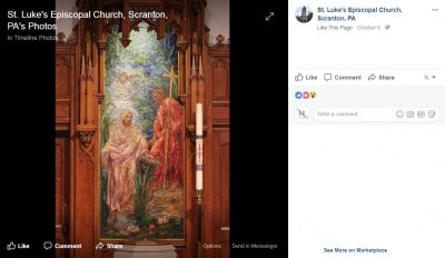 A screenshot confirming the extant status of a Tiffany mosaic in Scranton, Pa., found on the church's Facebook page.