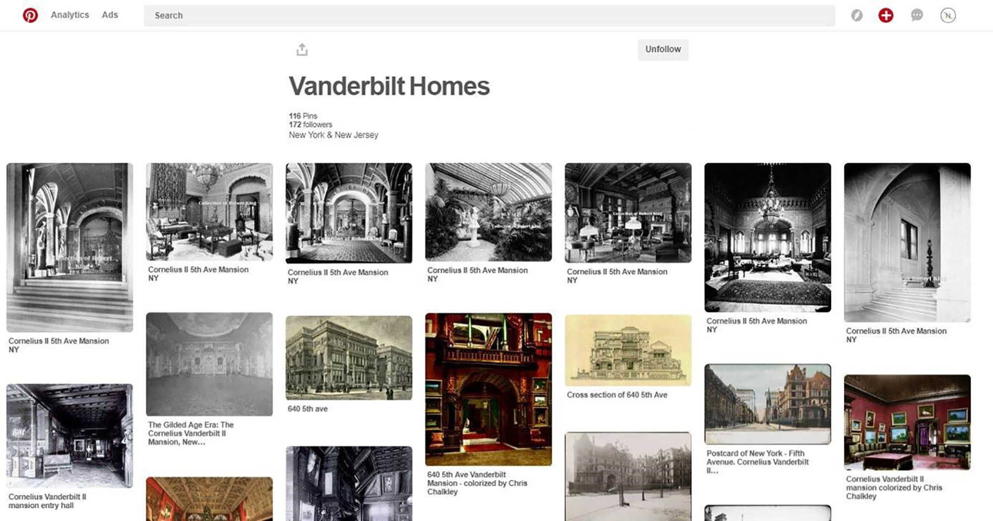 A Pinterest board featuring period photographs and renderings of Vanderbilt residences.
