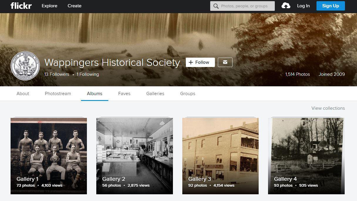 Wappingers Historical Society's Flickr page, with several galleries containing hundreds of historic photographs scanned and uploaded from their collection.