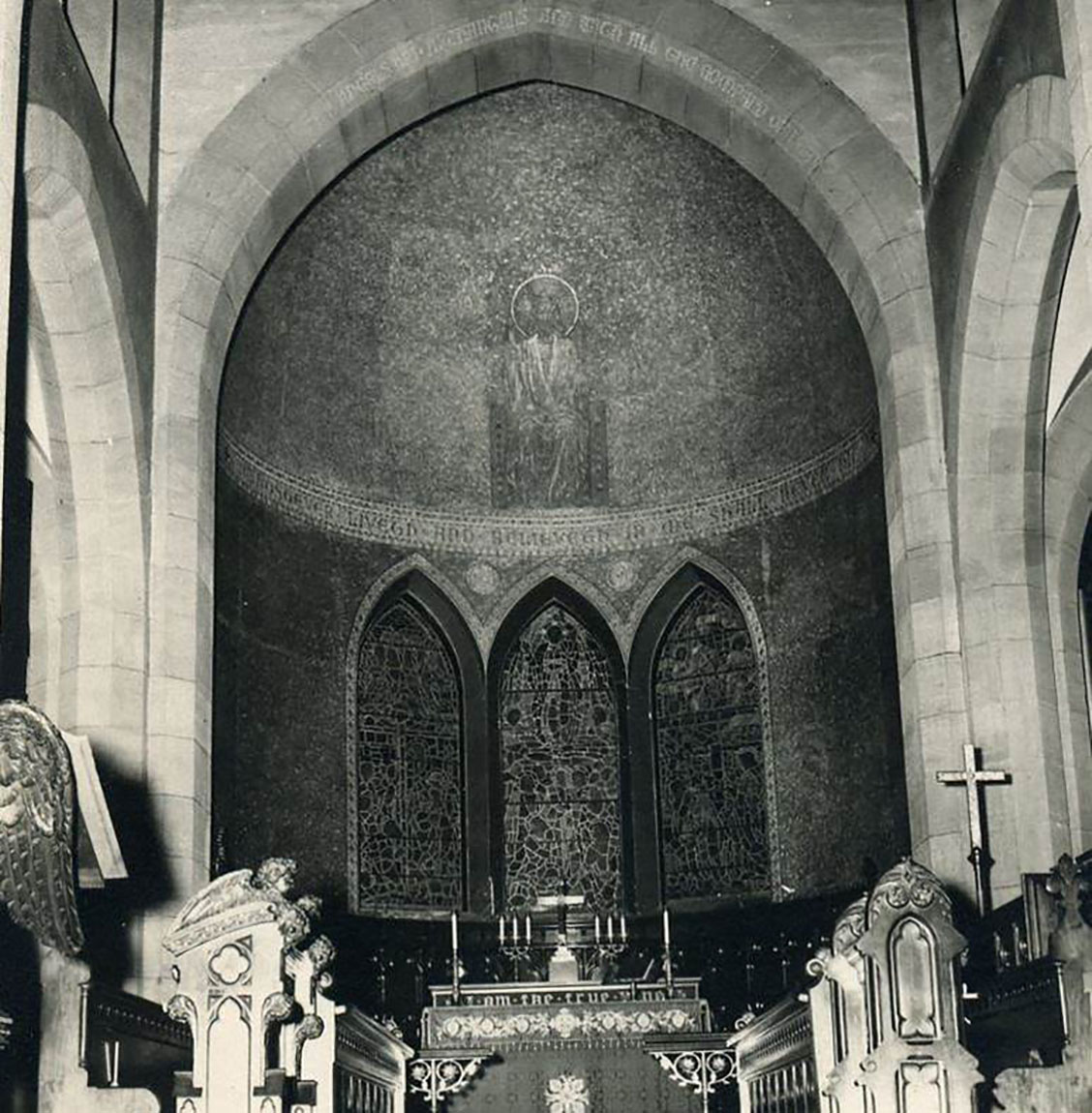 Historic photo showing the apse of Zion Episcopal Church in Wappinger Falls, New York