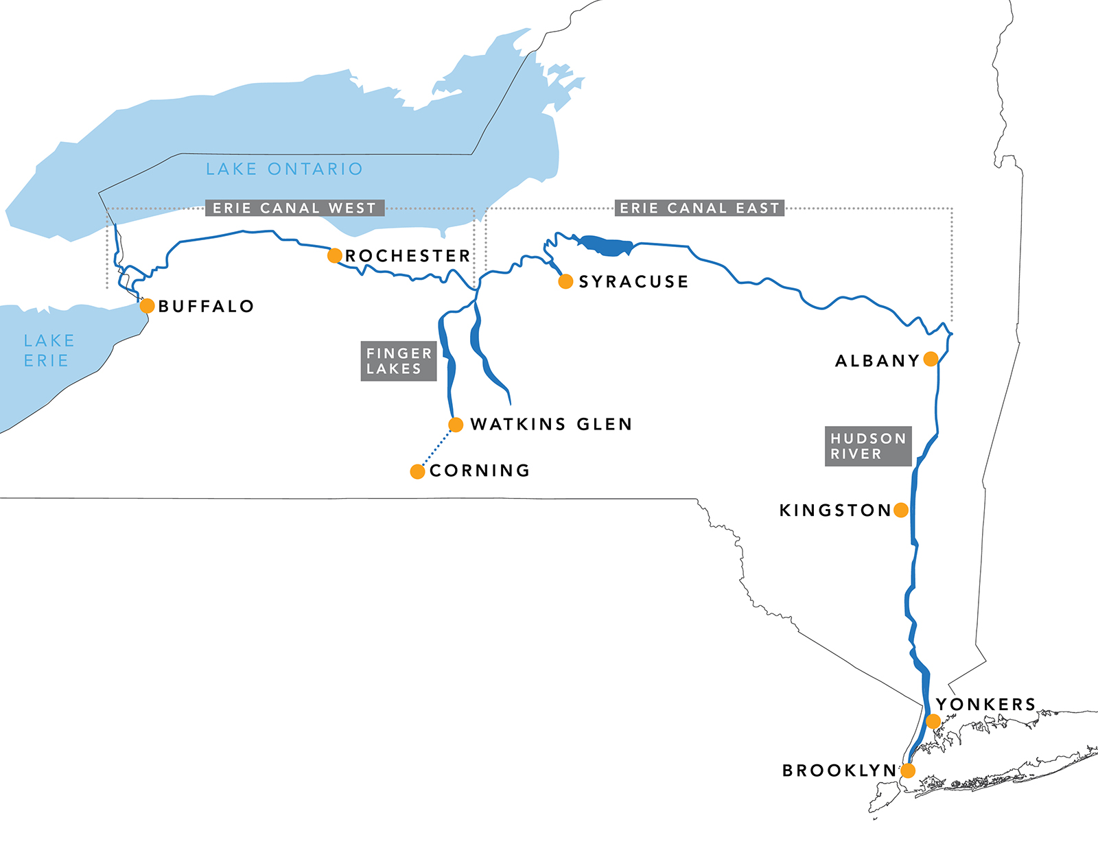 Map of the 2018 New York State GlassBarge Tour