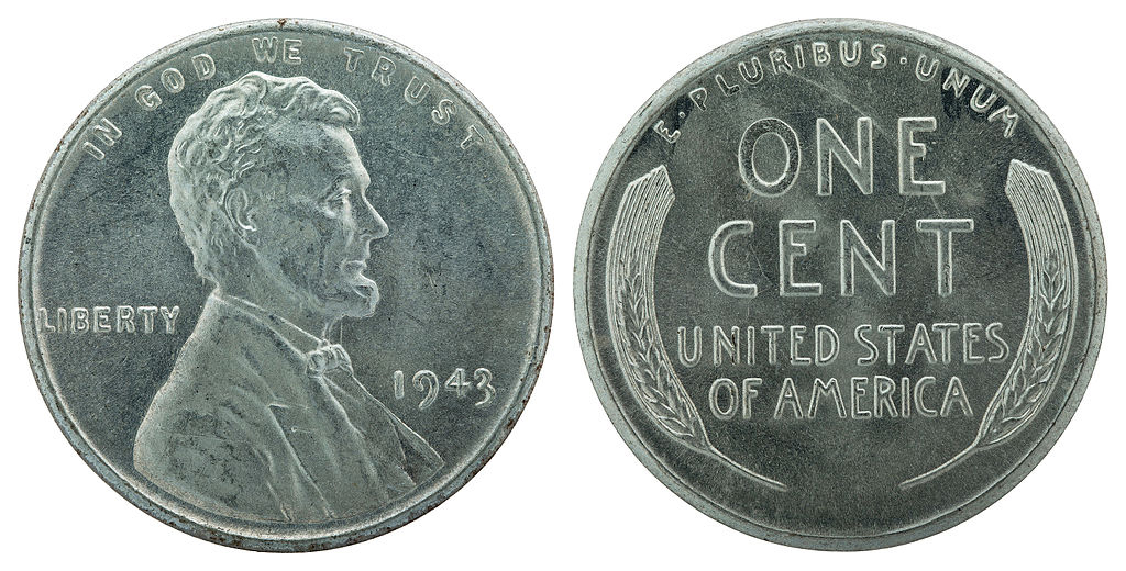 A 1943 Steel Cent, National Numismatic Collection (photograph by Jaclyn Nash), National Museum of American History, via Wikimedia Commons