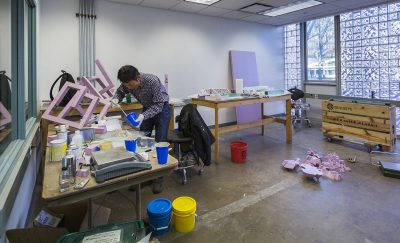 2014 Artist-in-Residence Jong-Pil Pyun creating molds at The Studio.