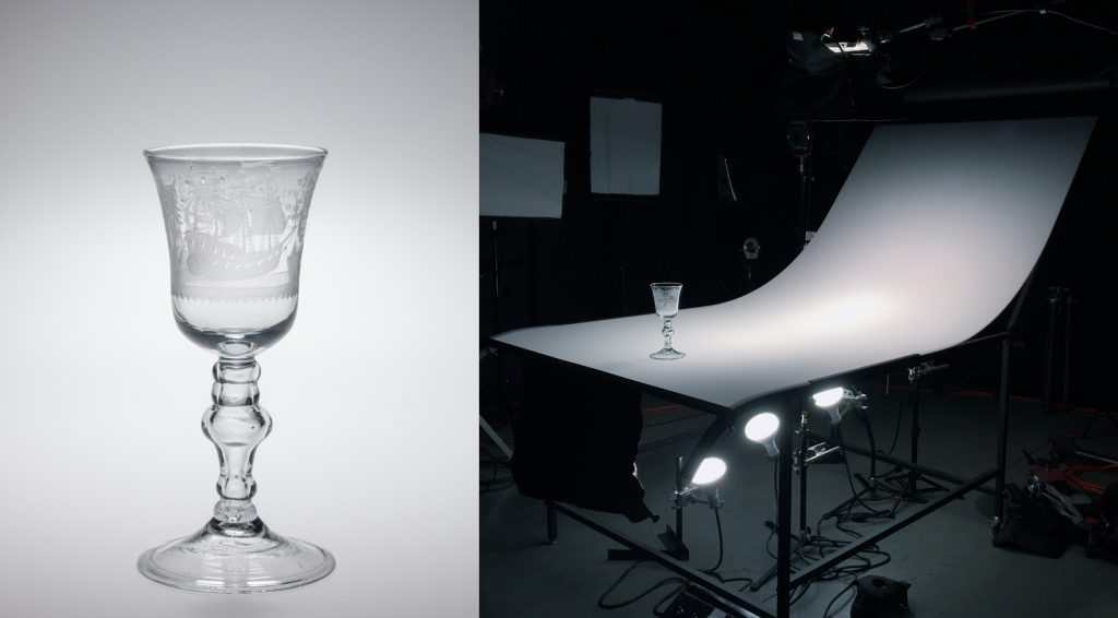 Here the object has been placed on the table with broad, soft backlighting and an overhead softlight.
