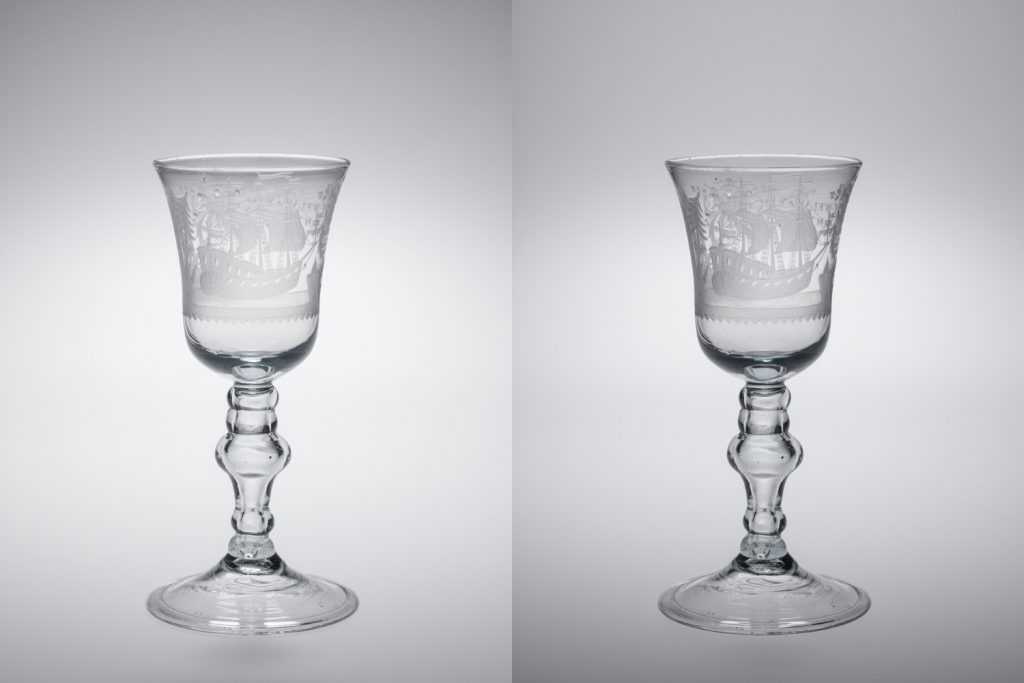The image on the right shows the effect of lowering the intensity of the overhead softlight. Introducing even this modest amount of contrast has an immediate effect on the readability of the engraving.