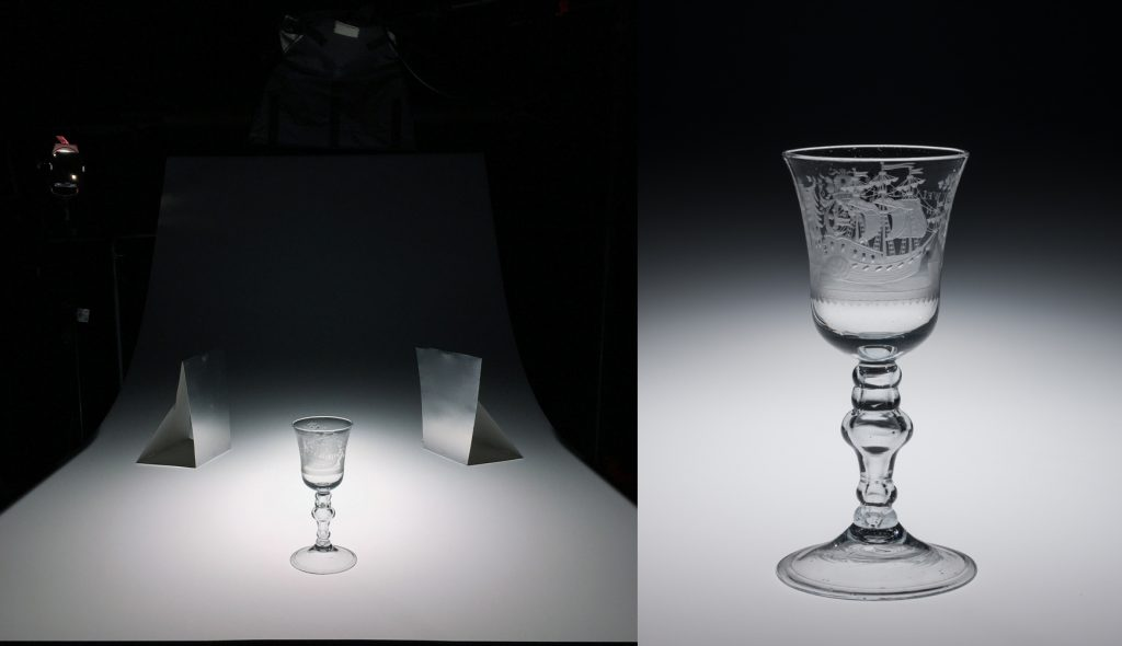 "With the increased falloff, the edges of the goblet bowl need a little help to cleanly separate from the background, so shiny reflector cards have been carefully placed to define the edges. A Fresnel spot light behind and to the left also introduces some specular reflections for dimension and ""glassiness."""