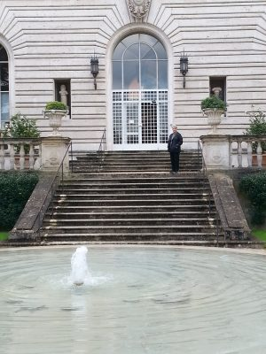 Karol Wight on the entrance steps of the American Academy in Rome.