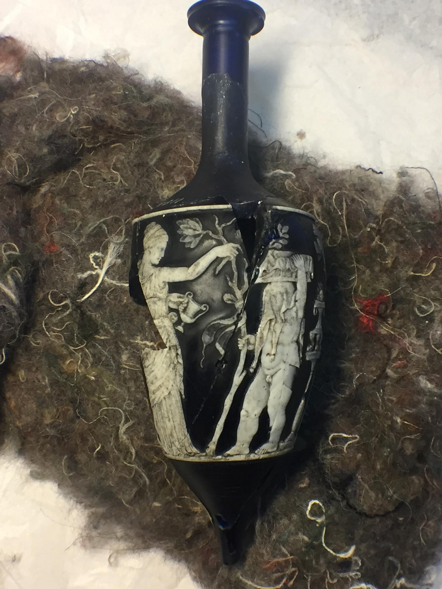Roman cameo glass bottle found at Torrita di Siena, Tuscany, Italy.